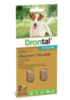 Drontal Chewable for dogs 10kg 2 pack size