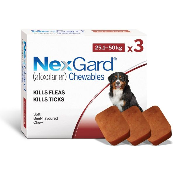 Nexgard for Large Dogs 3 Pack 25-50kg PLUS FREE LARGE SINGLE