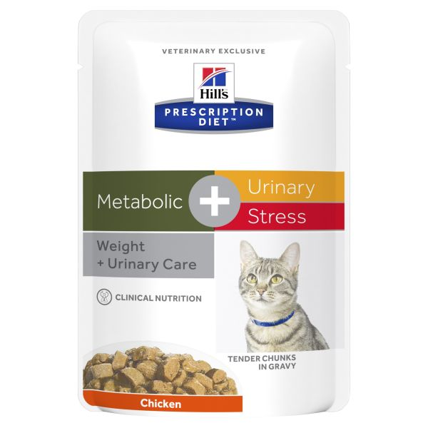 Hills Prescription Diet Cat Metabolic + Urinary Stress Chicken Wet Food Pouches 85g X 12