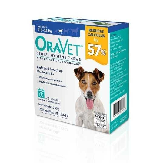 Oravet Dental Hygiene chews for S dogs  4.5-11kg ( pack of 7 )     BUY ONE BOX GET ONE BOX FREE exp 20/12/2020