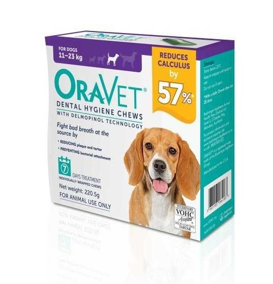 Oravet Dental Hygiene chews for M dogs  11-23kg ( pack of 7 )   BUY ONE BOX GET ONE BOX FREE  exp 20/12/2020