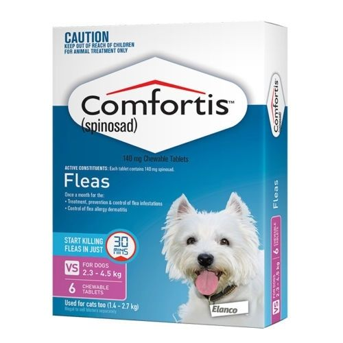 Comfortis for Dogs  2.3 - 4.5kg or cats 1.4-2.7kg  6 PACK